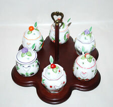 7-Piece Lenox Orchard Jam Jelly Spoon Set with Wooden Stand Fruit Flower DM813