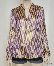 Nwt $325 Tory Burch STEPHANIE Silk/Metallic Tunic Blouse Shirt Top Purple/Gold 6