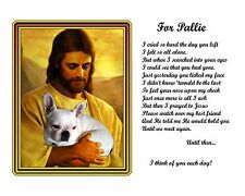 White French Bulldog Memorial-w/Jesus and Poem Personalized with your Pet's Name