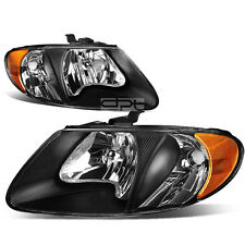 FOR 01-07 DODGE CARAVAN/VOYAGER BLACK HOUSING HEAD LIGHT+AMBER TURN SIGNAL LAMP