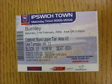 11/02/2006 Ticket: Ipswich Town v Burnley (Folded). This item has been inspected