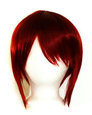 12'' Bob Cut with Long Bangs Crimson Red Synthetic Cosplay Wig NEW