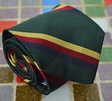 Vtg Dreyfuss & Son Green Yellow Red Striped Trad Repp Skinny Short Tie All Silk