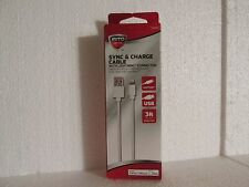 AUTO DRIVE 3ft Charge/Sync Cable Lightning Connector-iPhone-iPad-iPod-Black-NIB
