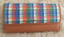 """NEW FOSSIL""""MEMOIR STRAW"""" LARGE PLAID LEATHER WALLET RETAIL $80 NWT"""