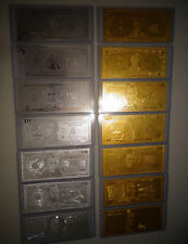 14 Gold & Silver Dollar Bill Set - $1-2-5-10-20-50-100 - Each In Pvc Bill Holder