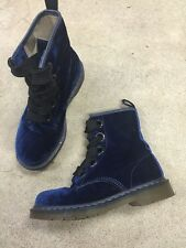 Doc Dr Martens Blue Velvet Combat Boot 8 39 Oversized Eyelet Ribbon RARE HTF