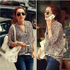 Fashion Women Long Sleeve Leopard Chiffon Shirt Tops Chiffon Blouse T-Shirt LCF