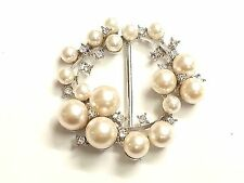 MT66- 55mm Pearl & Crystal Diamante Wedding Topper Brooch Ribbon Slider Buckle