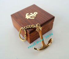 Nautical Brass Keyring Maritime Anchor Key chain With Wooden Box Christmas Gift