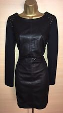 Exquisite Karen Millen Black Leather Studded Jersey Panel Dress UK10