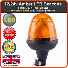 LED Beacon Flexi DIN Pole 12/24v Flashing Warning Strobe Light lightbar Amber