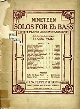 VINTAGE - NINETEEN SOLOS FOR Eb BASS w/ PIANO ACCOMPANIMENT by Carl Weber - 1914