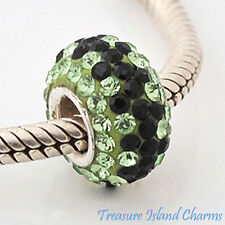 BLACK AND GREEN ZIGZAG CZ CRYSTAL .925 Sterling Silver EUROPEAN Bead Charm