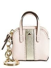 Kate Spade Racing Stripe Maise Charm Bag Pink Gold Coin Pouch Key Chain Fob NWT