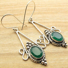 Gifts That Give Twice !! 925 Silver Overlay GREEN ONYX Gem ANTIQUE LOOK Earrings