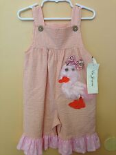 NWT LaJenns Pink Chick Girls Ruffle/striped Romper /Pants One Piece 24 Monthes