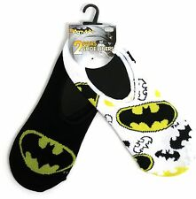LADIES 2 PAIRS BATMAN LOGO SHOE LINERS FOOTLETS SOCKS ONE SIZE