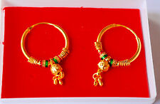 EARRINGS HOOP Style round girls ladies 22 ct gold plated gift H56