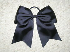 "NEW ""BLACK"" Cheer Bow Pony Tail 3 Inch Ribbon Girls Hair Bows Cheerleading Dance"