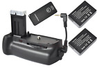 Battery Grip Holder + 2x 875mAh LP-E12 battery for Canon 100D EOS Rebel SL1 DSLR