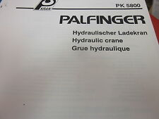 Palfinger PK 5800 Hydraulic Crane Spare Parts List Manual 1992