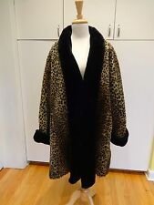 WOMEN'S FAUX LEOPARD ANIMAL PRINT FUR COAT SIZE MEDIUM BY BASIC EDITIONS