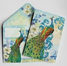 *PUNCH STUDIO Set of 5 Glitter Blank Note Cards w/Env ~ Floral ~ Peacock