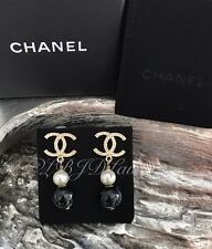 NWT CHANEL 2016 Double PEARL DROP LONG EARRINGS CC DANGLE STUDS Black White Gold