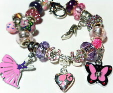 "Pugster European Charm Bracelet 8"" Barbie Princess Gown Slipper Heart Halloween"