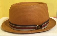 "KANGOL ""KROSS PORK PIE"" Straw Hat Cap K2099LX Men's Medium Brown Classic USA"