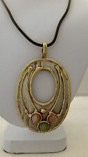 Handcrafted Three Small Stones Mixed Metal Pendant 16 Inch Cord Necklace