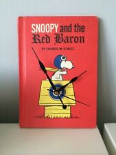 Hand Made One Off Original Vintage Snoopy and The Red Baron Book Clock Peanuts