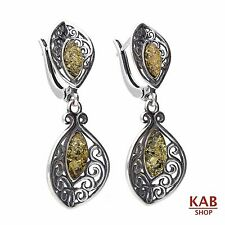 GREEN BALTIC AMBER STERLING SILVER 925 JEWELLERY EARRINGS. KAB-70A