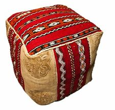 Moroccan Leather Pouffe, Kilim Leather Pouf, Ottoman, Leather Footstool, Storage