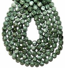 GR1594c Silvery-Green Seraphinite 8mm Round Polished Gemstone Beads (6-Beads)