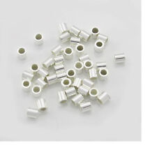 100pc, 2x2 Sterling Silver Crimps. 925 Crimp Beads, End Tubes, 2mm Spacer Crimp