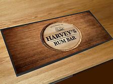 Personalised Welcome Rum Bar wood effect keg label bar runner mat