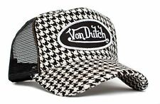 Authentic Brand New Von Dutch Houndstooth Cap Hat Trucker Mesh Patch Snapback