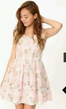 Cecil Mcbee Checkered Floral Sweetheart Dress in Pink