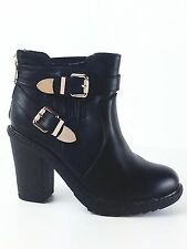 LADIES WOMENS BLACK LEATHER/FAUX ELASTICATED CHUNKY HEEL ANKLE SHOES BOOTS SIZE3