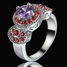 Size 8 Women's Purple Amethyst Engagement Ring Rhodium Silver Platinum Plated