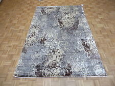 6 x 9 HAND KNOTTED GRAY MODERN ABSTRACT ORIENTAL RUG WITH SILK G4185