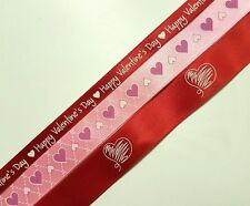Happy Valentines day and heart printed satin ribbon pack flower gift cake ribbon