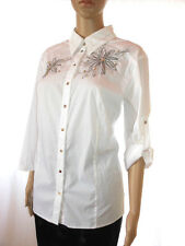AE15 Vintage Secretary Floral Beaded Embroider Casual Classic Mod Office Shirt