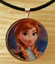 """ANNA"" Disney's Frozen. Glass Pendant with Leather Necklace"