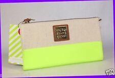 Victoria's Secret GREEN & BROWN Faux Leather Zipper Clutch Cosmetics Bag Purse