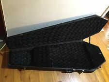 COFFIN CASE BLACK QUILTED VELVET INTERIOR W/ COMPARTMENT IN EC