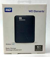 WD Elements Basic External Storage Hard Drive 1TB Compatible Windows 10 + Mac
