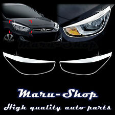 Chrome Headlight Lamp Cover Trim for 12~ Hyundai Accent/Verna 4DR/5DR